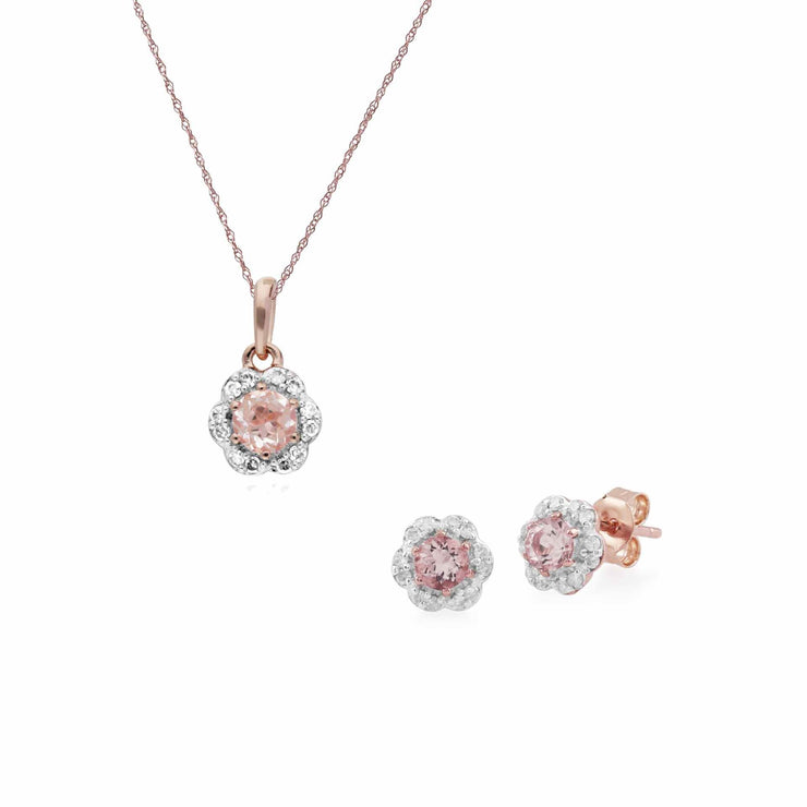 Floral Morganite & Diamond Flower Stud Earrings & Pendant Set Image 1