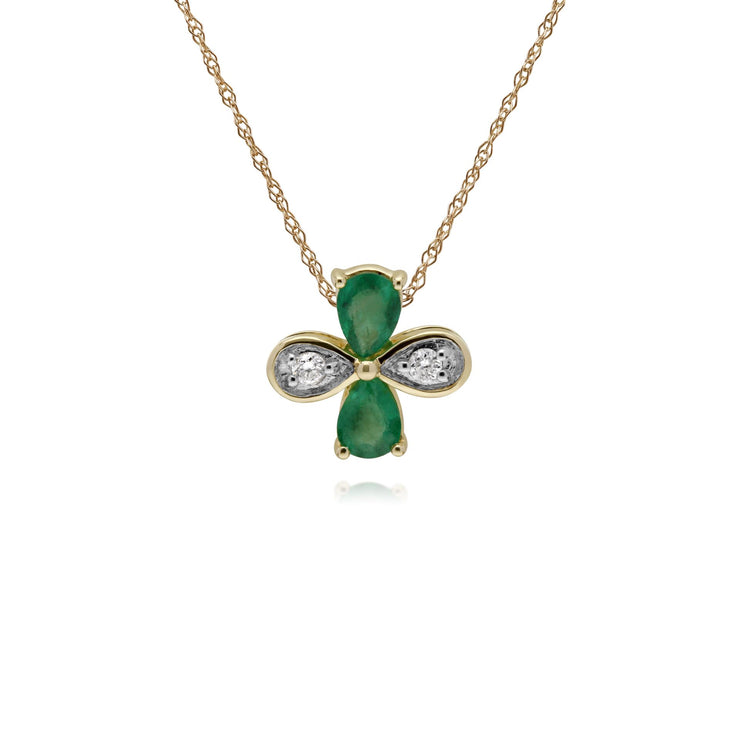 Floral Pear Emerald & Round Diamond Clover Pendant in 9ct Yellow Gold