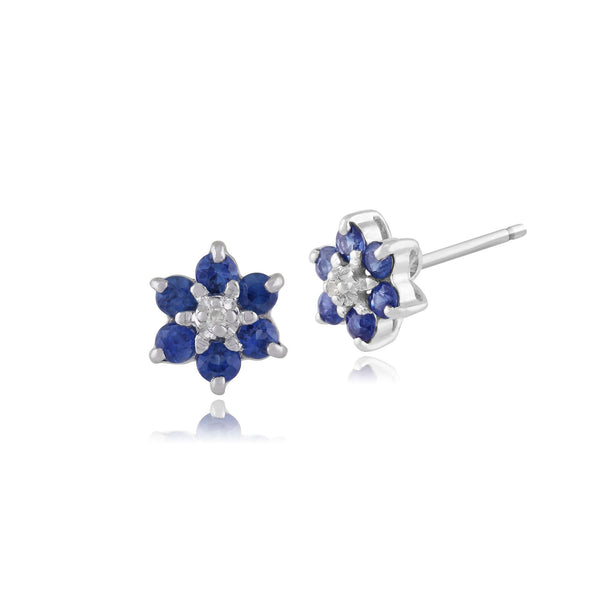 Floral Round Light Sapphire & Diamond Cluster Stud Earrings in 9ct White Gold