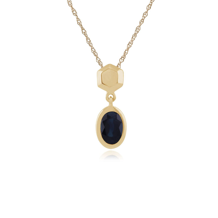 Classic Oval Sapphire Bezel Set Drop Pendant in 9ct Yellow Gold