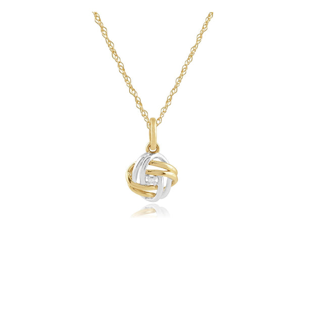 Classic Round Diamond Love Knot Pendant in 9ct Yellow & White Gold