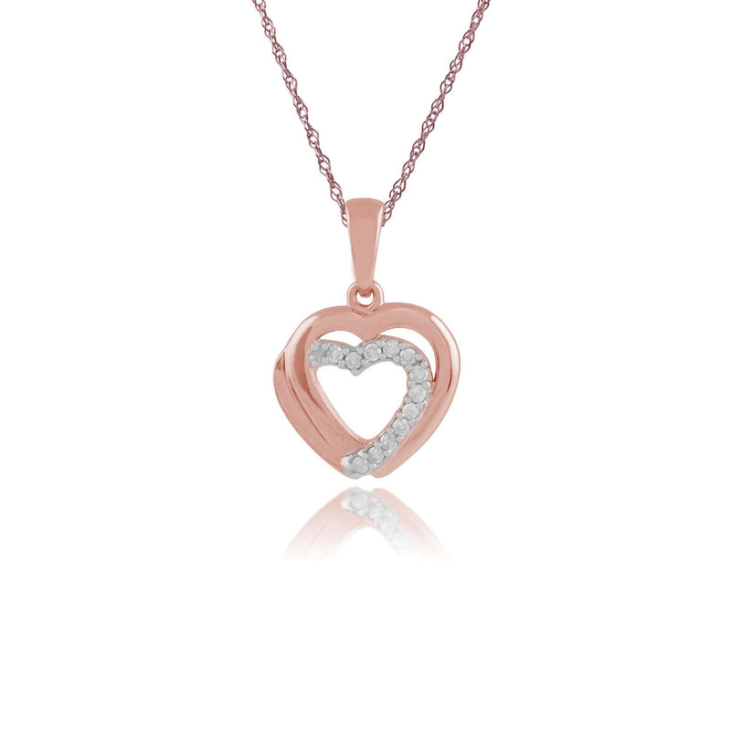 Classic Round Diamond Heart Pendant in 9ct Rose Gold