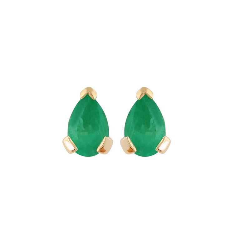 Classic Pear Emerald Stud Earrings in 9ct Yellow Gold 6.5x4mm