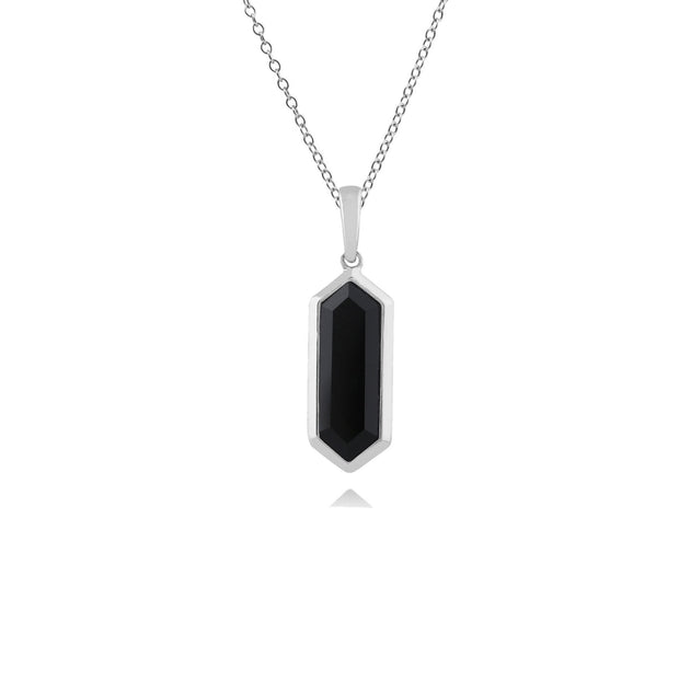 Geometric Hexagon Black Onyx Prism Drop Pendant in 925 Sterling Silver