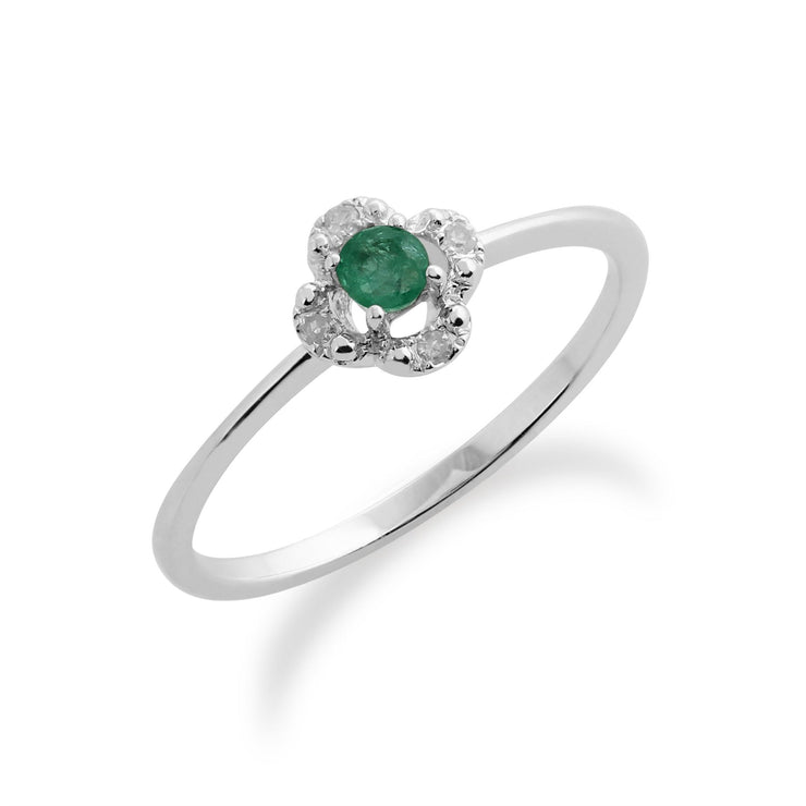 Gemondo Sterling Silver  Emerald & Diamonds Flower Ring