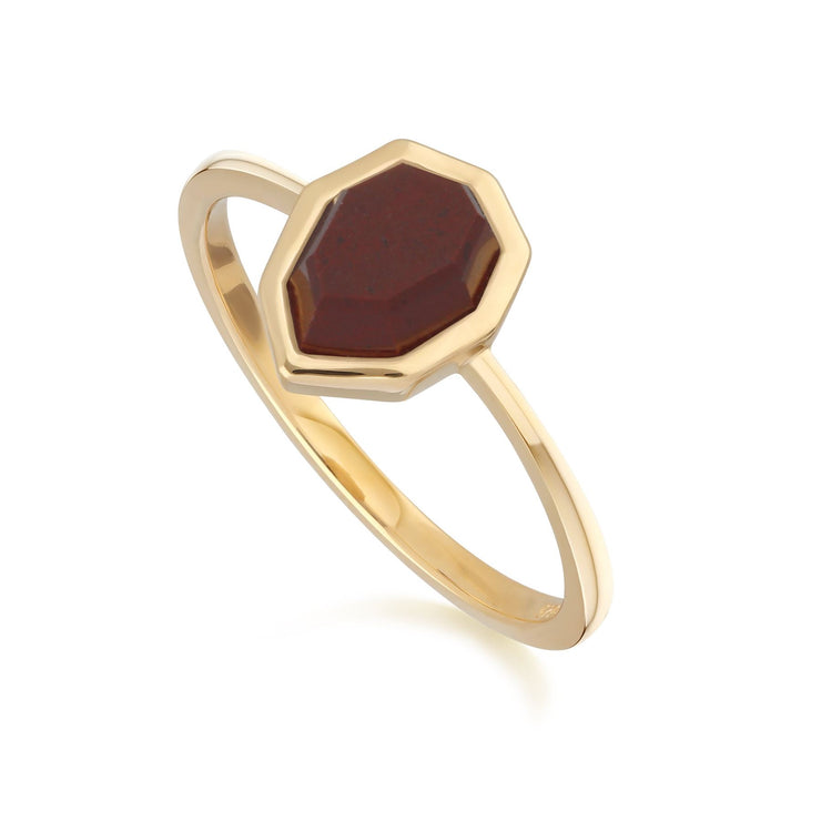 Irregular B Gem Red Jasper Ring in Gold Plated Sterling Silver Side