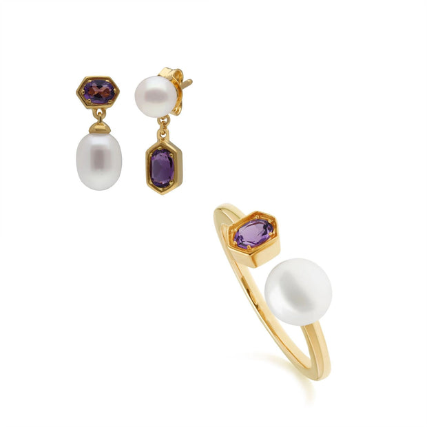 Modern Pearl & Amethyst Earring & Ring Set in Gold Plated Sterling Silver
