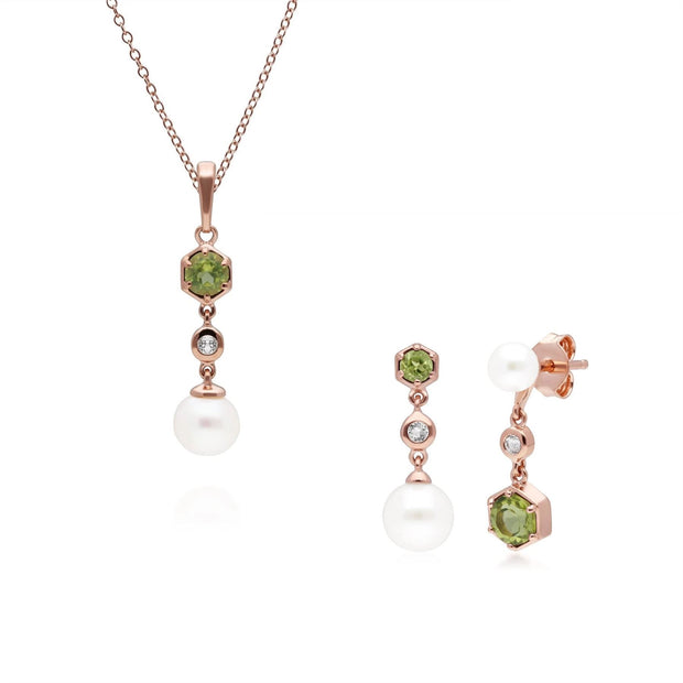 Modern Pearl, Peridot & Topaz Pendant & Earring Set in Rose Gold Plated Sterling Silver