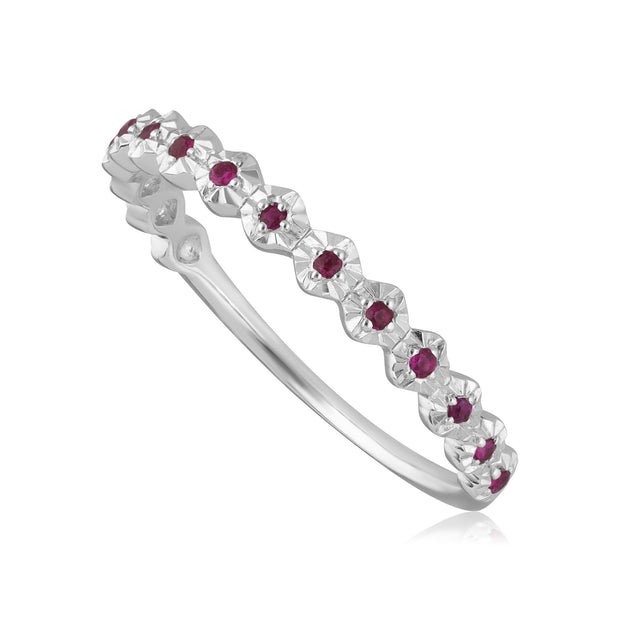 Gemondo Ethical 9ct White Gold 0.090ct Ruby Band Ring