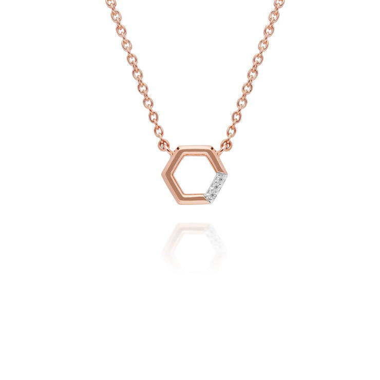 Diamond Pave Hexagon Necklace & Ring Set in 9ct Rose Gold