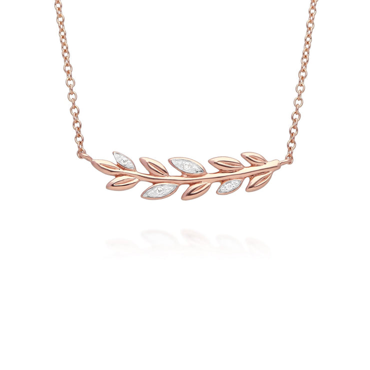 9ct Rose Gold O Leaf Diamond Necklace