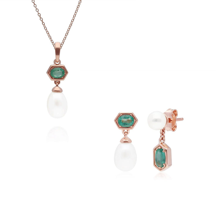 Modern Pearl & Emerald Pendant & Earring Set in Rose Gold Plated Sterling Silver