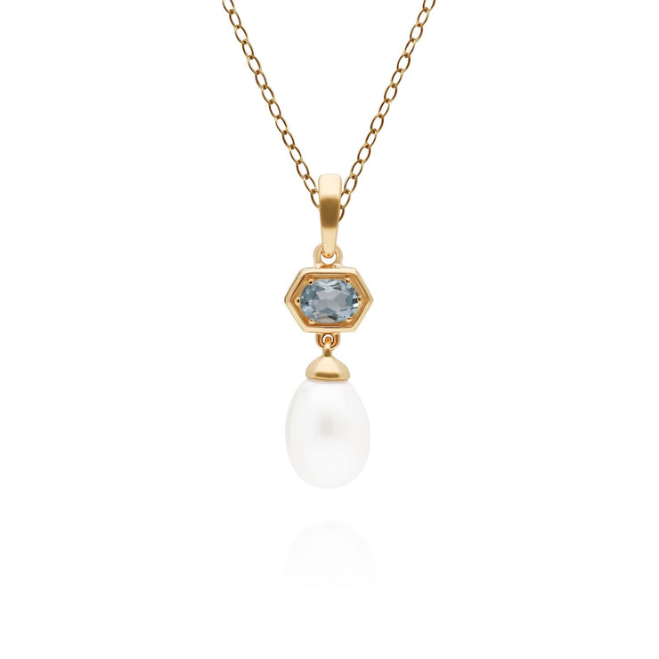 Modern Pearl & Aquamarine Hexagon Drop Pendant in Gold Plated Sterling Silver