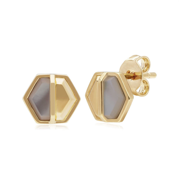Micro Statement Mother of Pearl Hexagon Stud Earrings in Gold Plated 925 Sterling Silver