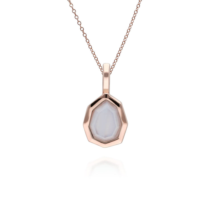 Irregular B Gem Blue Lace Agate Pendant in Rose Gold Plated Sterling Silver