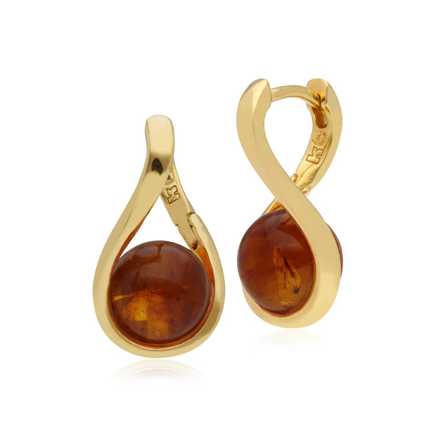 Kosmos Ball shaped Amber Earrings in Gold Plated Sterling Silver
