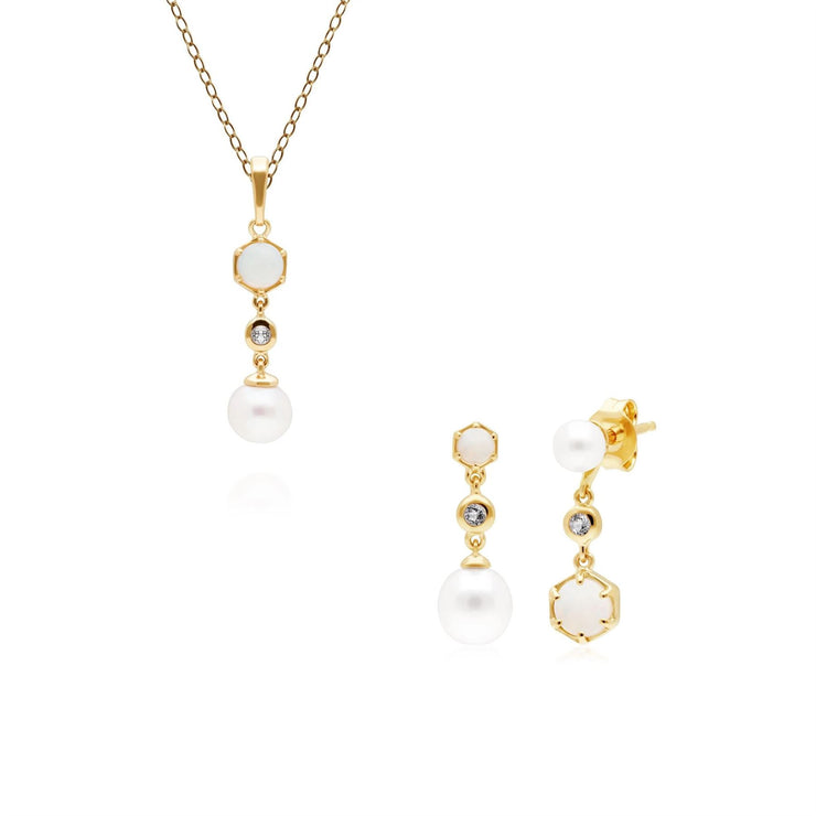 Modern Pearl, Topaz & Opal Pendant & Earring Set in Gold Plated Sterling Silver