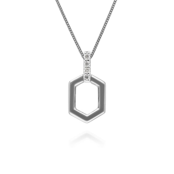 Diamond Pave Hex Bar Pendant in 9ct White Gold
