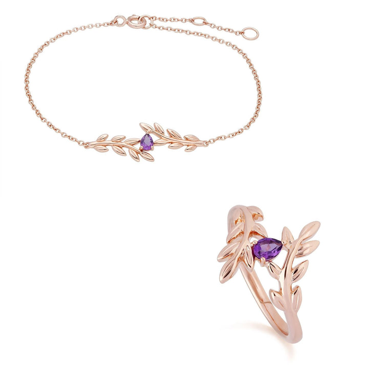 O Leaf Amethyst Bracelet & Ring Set in 9ct Rose Gold
