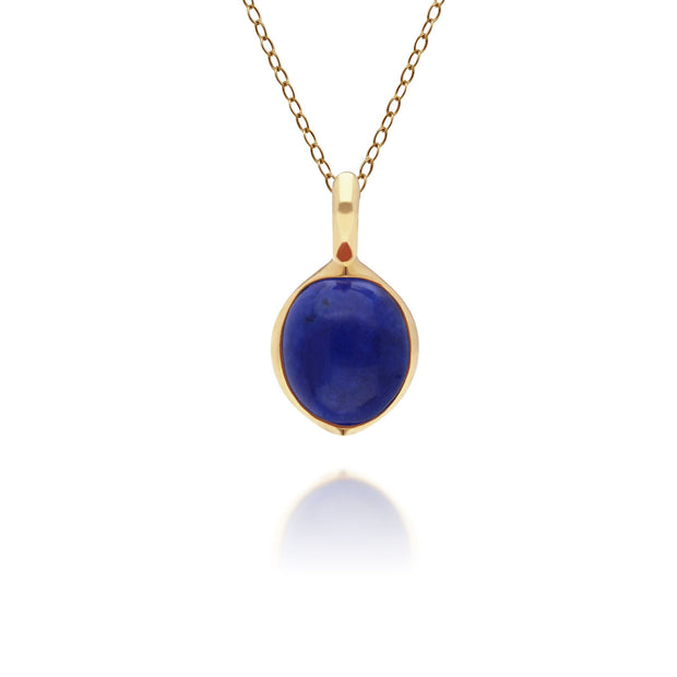 Irregular B Gem Lapis Lazuli Pendant in Gold Plated Sterling Silver