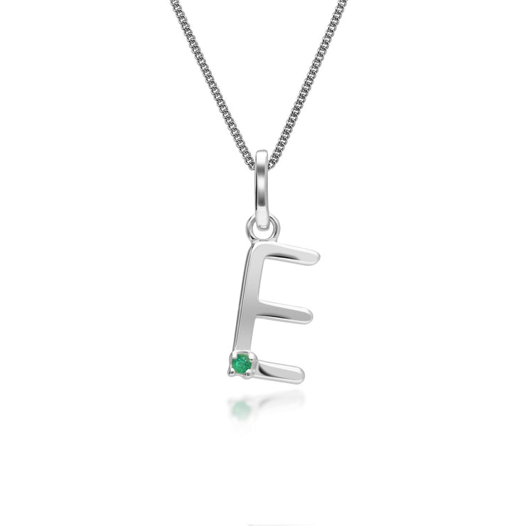 Initial E Emerald Letter Charm Necklace in 9ct White Gold