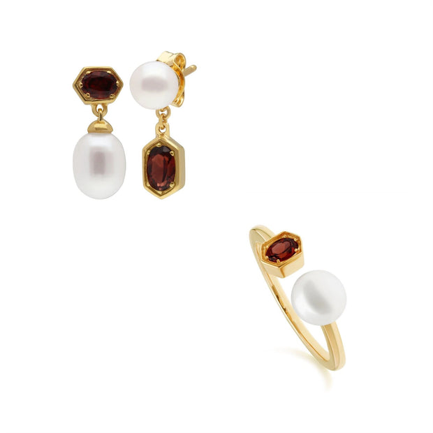 Modern Pearl & Garnet Earring & Ring Set in Gold Plated Sterling Silver
