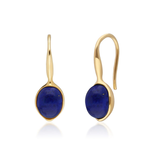 Irregular B Gem Lapis Lazuli Drop Earrings in Yellow Gold Plated Sterling Silver