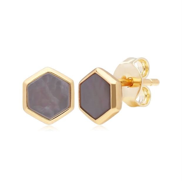 Micro Statement Mother of Pearl Stud Earrings in Gold Plated 925 Sterling Silver