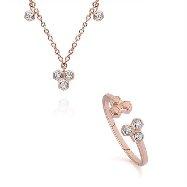 Diamond Trilogy Necklace & Ring Set in 9ct Rose Gold