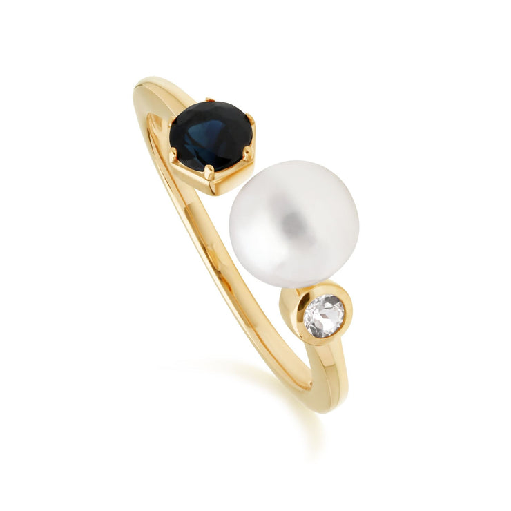 Modern Pearl, Sapphire & Topaz Open Ring in Gold Plated Sterling Silver