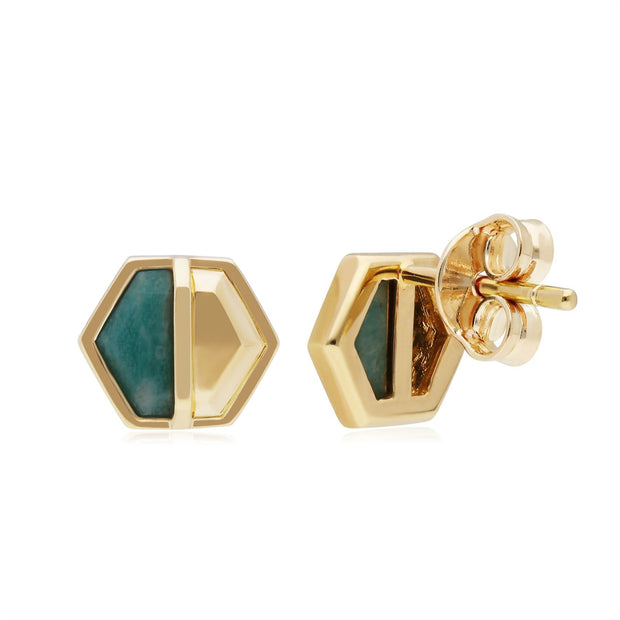 Micro Statement Amazonite Hexagon Stud Earrings in Gold Plated 925 Sterling Silver