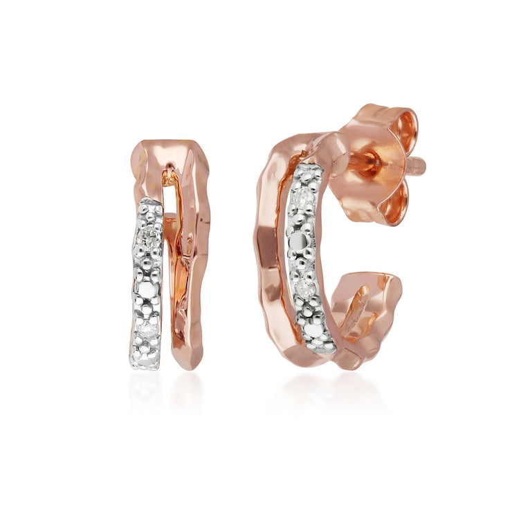 Diamond Pavé Double Hammered Mini Hoops in 9ct Rose Gold