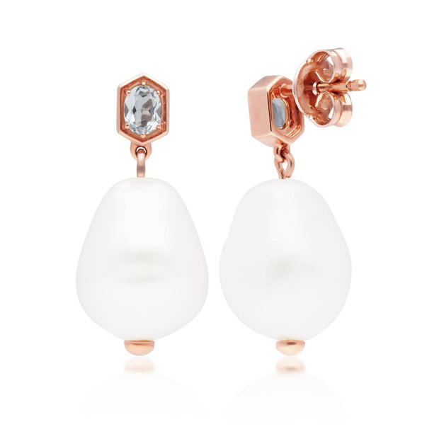 Modern Baroque Pearl & Aquamarine Drop Earrings in Rose Gold Plated Sterling Silver
