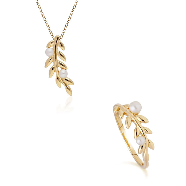 O Leaf Pearl Pendant & Ring Set in Gold Plated 925 Sterling Silver