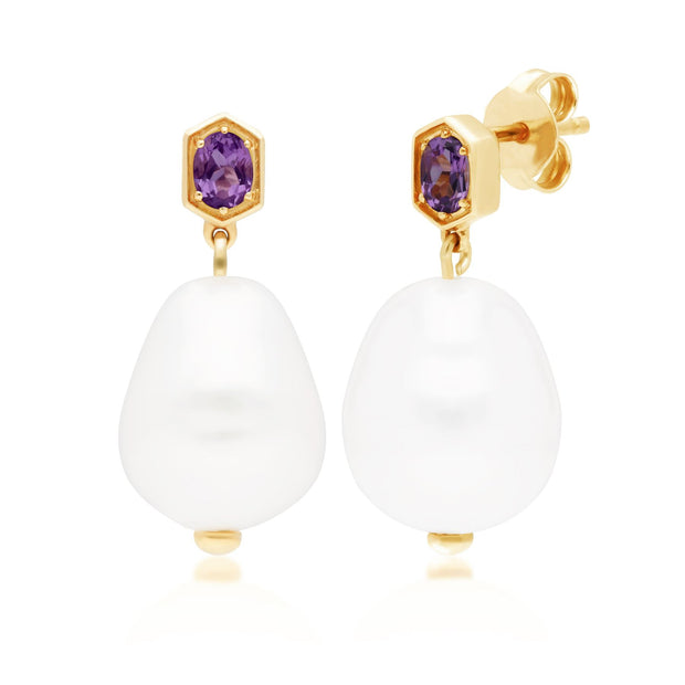 Modern Baroque Pearl & Amethyst Drop Earrings in Gold Plated Sterling Silver