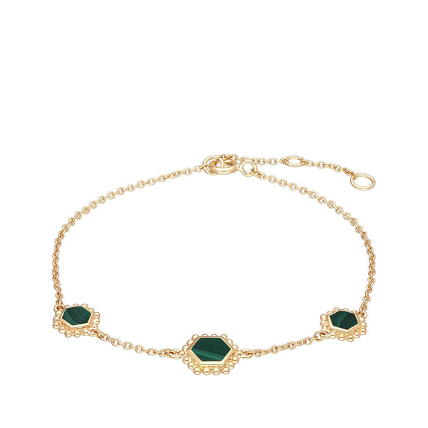 Malachite Flat Slice Hex Chain Bracelet in Gold Plated Sterling Silver