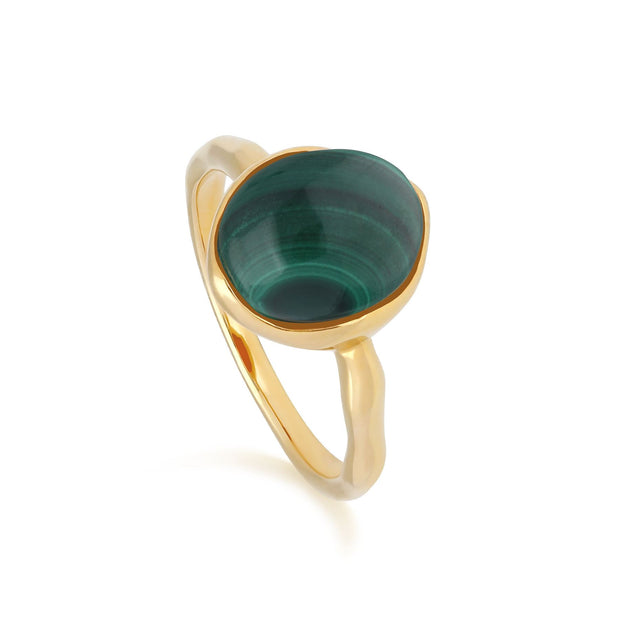 Irregular B Gem Malachite Ring in Yellow Gold Plated Sterling Silver