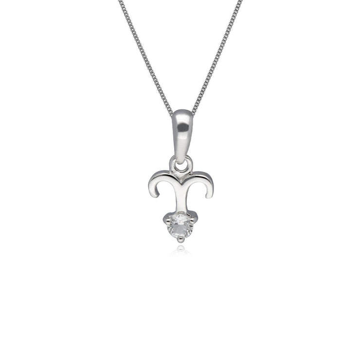 White Topaz Aries Zodiac Necklace in 9ct White Gold