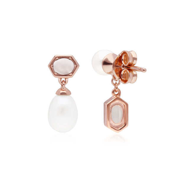 Modern Pearl & Moonstone Mismatched Drop Earrings in Rose Gold Plated Sterling Silver