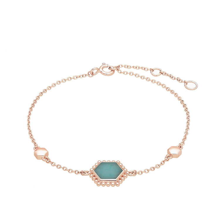 Amazonite Flat Slice Hex Bracelet in Rose Gold Plated Sterling Silver