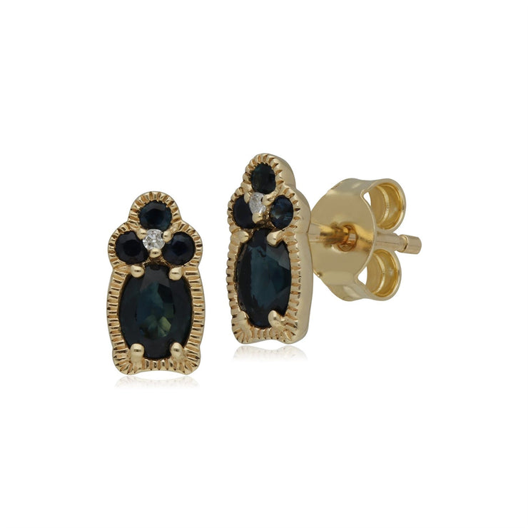 Classic Sapphire & Diamond Stud Earrings in 9ct Yellow Gold