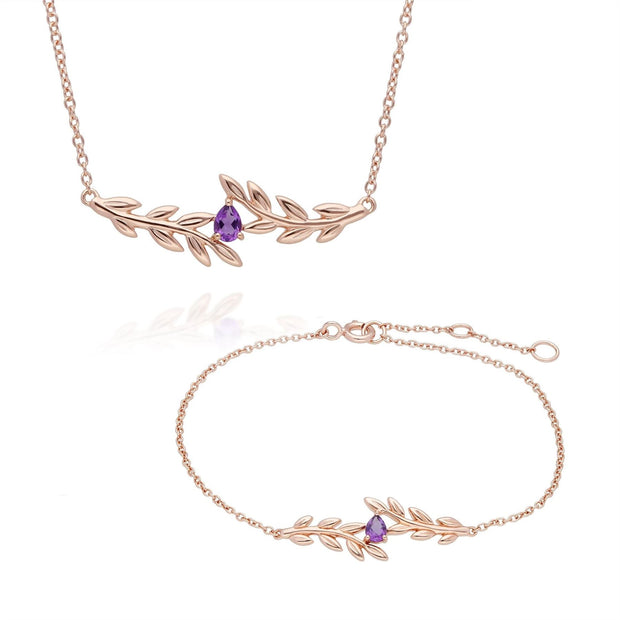 O Leaf Amethyst Necklace & Bracelet Set in 9ct Rose Gold