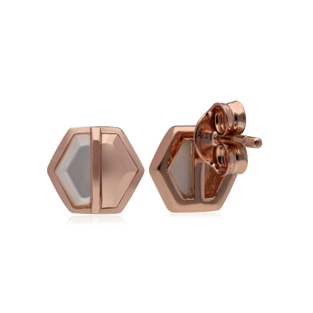 Micro Statement Mother of Pearl Hexagon Stud Earrings in Rose Gold Plated Silver