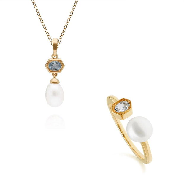 Modern Pearl & Aquamarine Pendant & Ring Set in Gold Plated Sterling Silver