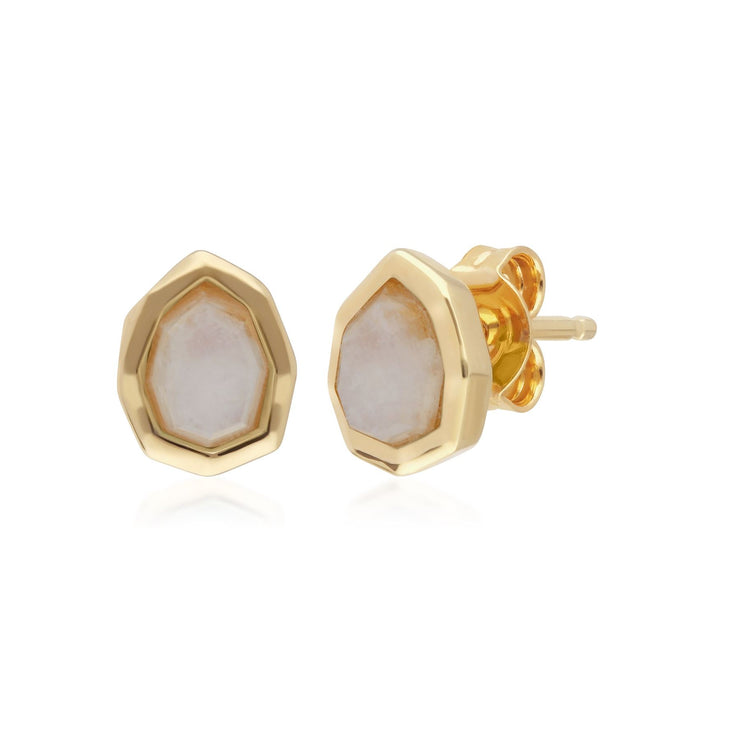 Irregular B Gem Rainbow Moonstone Stud Earrings in Gold Plated Sterling Silver