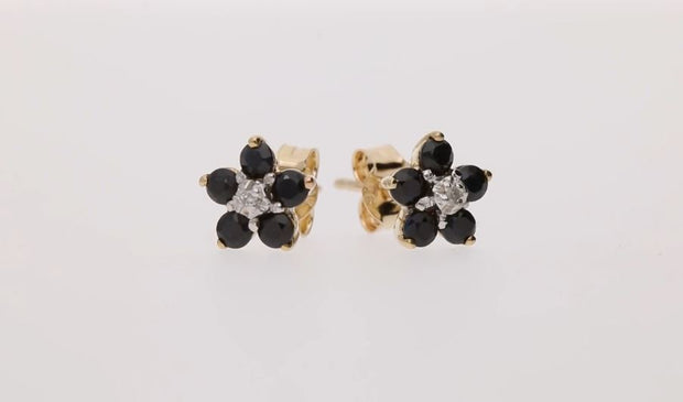 Floral Round Sapphire & Diamond Cluster Stud Earrings in 9ct Yellow Gold