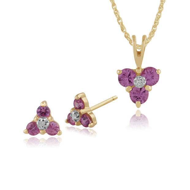 Floral Pink Sapphire & Diamond Stud Earrings & Pendant Set Image 1