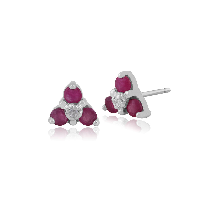 Classic Round Ruby & Diamond Cluster Stud Earrings in 9ct White Gold