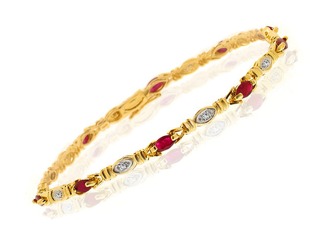 Gemondo 9ct Yellow Gold 1.38ct Genuine Ruby & 5pt Diamond 18cm Bracelet Image