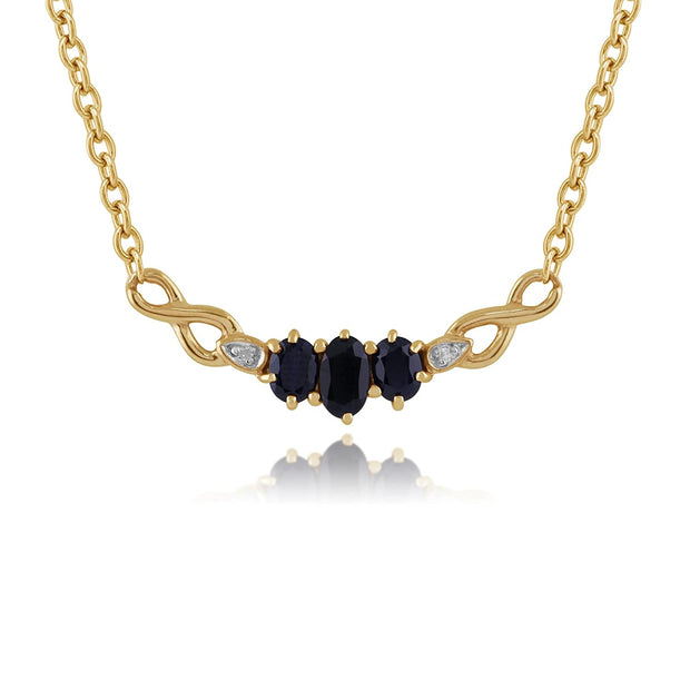 Classic Oval Sapphire & Diamond Necklace in 9ct Yellow Gold